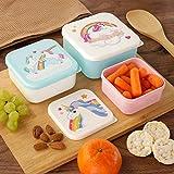 Puckator Set de tupperwares Enchanted Rainbow, recipientes para Alimentos con Dibujo de Unicornio, Rosa/Azul Claro
