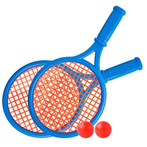 YXiang Raqueta de tenis de plástico para niños, juguetes para deportes al aire libre, playa interactiva, juego de raquetas de tenis (azul)