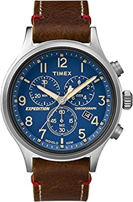 Timex Men's Expedition Scout Chrono Analog-Quartz Watch with Leather Strap, Brown, 20 (Model: TWC013900)