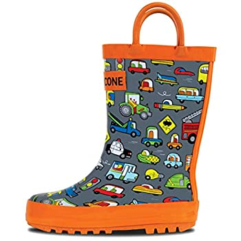 LONECONE Rain Boots with Easy-On Handles in Fun Patterns for Toddlers and Kids Rush Hour 5 Toddler