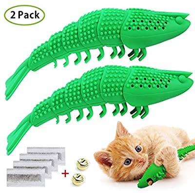 Idepet Interactive Cat Toys Kitten Catnip Toothbrush Chew Treat Toy 100% Natural Rubber Bite Resistance Lobster Shape Toys for Teeth Cleaning Dental Care 2 Pcs