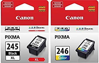 Canon PG-245 XL High Capacity Black Ink Cartridge (8278B001) + Canon CL-246 Color Ink Cartridge (8281B001)