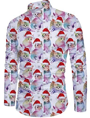 Idgreatim Ugly - Camisa de Navidad para hombre, manga larga, diseño navideño Gato de Navidad. XL
