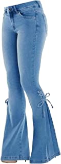 Womens Lace Up Wide Leg Stretch Bell Bottom Flare Jeans Denim Pants