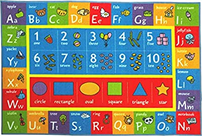 """Kev & Cooper Playtime Collection ABC, Numbers and Shapes Educational Area Rug - 8'2"""" x 9'10"""""""