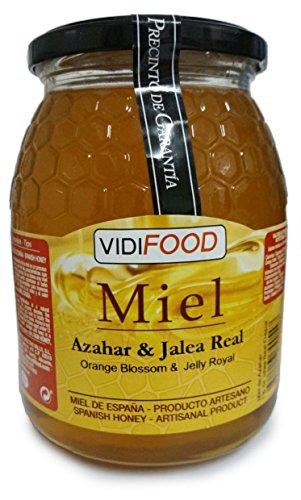 Miel de Azahar con Jalea Real - 1kg - Producida en España - Estimulante y altamente nutritiva - Aroma Floral Intenso y Sabor Fuerte y Dulce