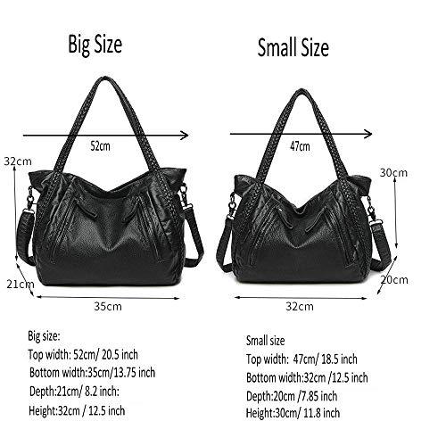 Oversized Handbag,Easeu Women Big Capacity Top-handle Tote Bag Soft Slouchy Faux Leather Braided Shoulder Bag-Big Size