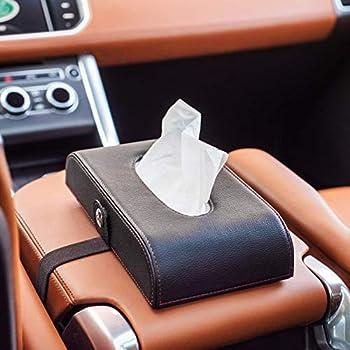 Wooinfeny Car Tissue Holder Car Armrest Box Tissue Holder Luxury Black Leather Premium Car Tissue Box PU Leather Backseat Tissue Case Holder for Vehicle