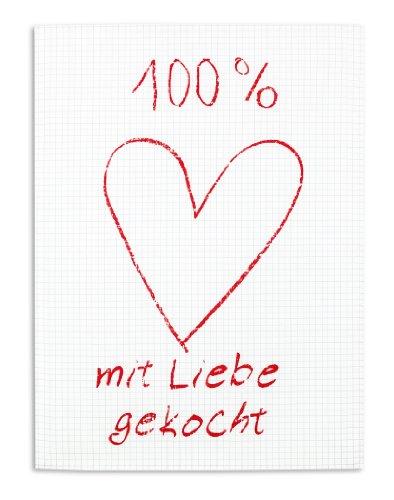 KRACHT, Halbleinen Geschirrtuch, 100% mit Liebe gekocht, ca. 50/70 cm