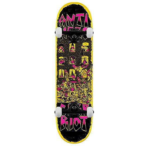 Anti Hero Team Curb Riot - Skateboard completo, 21,6 cm, colore: Giallo