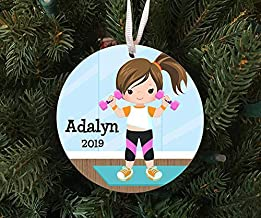 Christmas Xmas Decor 2020 Ornament Personalized Girl Working Out/Exercising Ornament Keepsake - Custom Made to Order - 202...