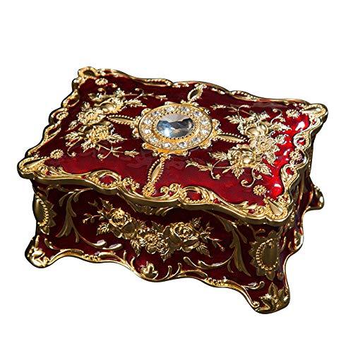 SunshineFace Caja de almacenamiento de joyas vintage estilo europeo antiguo grabado en relieve de dos capas caja organizadora
