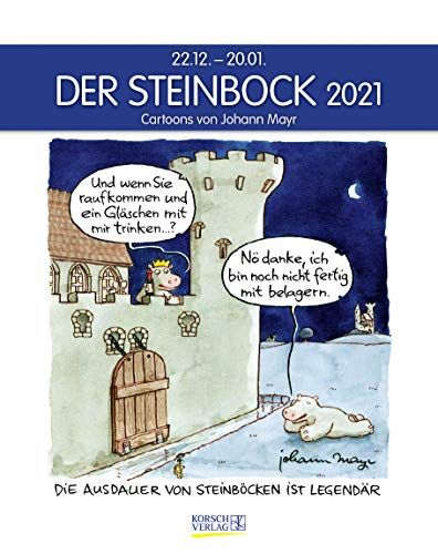 Steinbock 2021: Sternzeichenkalender-Cartoonkalender als Wandkalender im Format 19 x 24 cm.