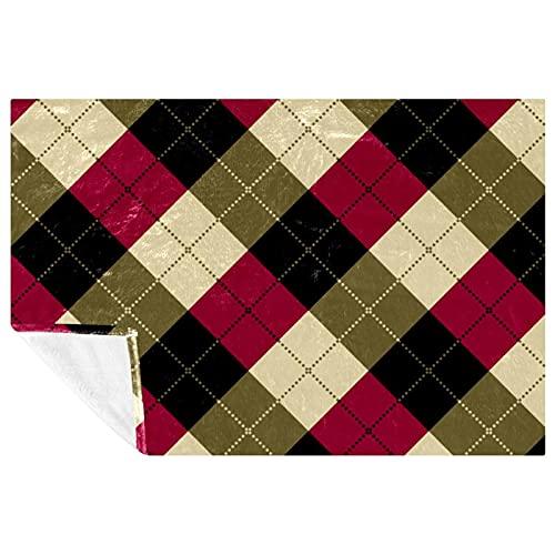 BestIdeas Manta de tela escocesa con patrón de color rojo y negro y crema, para cama, sofá, picnic, camping, playa, 150 x 100 cm