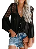 FARYSAYS Women's 2021 Lace Crochet V Neck Long Sleeve Button Down Tee Shirts Casual Loose Tops Blouses Black X-Large