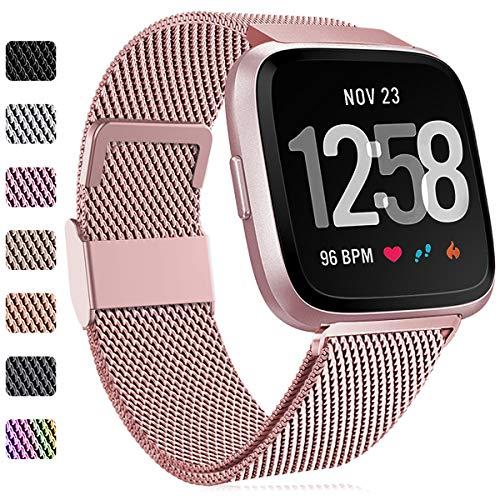 Faliogo Ersatzarmband Kompatibel mit Fitbit Versa Armband/Fitbit Versa 2 Armband, Edelstahl Metall Ersatz Armbänder Kompatibel mit Fitbit Versa 2/Versa/Versa Lite, Klein, Roségold