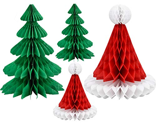 NATEE 4 Stück Weihnachten Seidenpapier Pompoms, Papier Fans Fächer & Wabenbälle Dekorpapier Kit, Weihnachtsbaum/Weihnachtsmütze Deko für Weihnachtsfest Hängendekoration