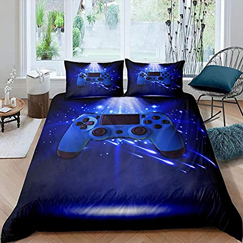 HUA JIE Queen Bed Sheets Sets Gaming Comforter Cover Set for Boys Game Room, Gamer Bedding Twin Size, Video Games Duvet Teens Blue Gamepad Quilt Set, Modern Decorative