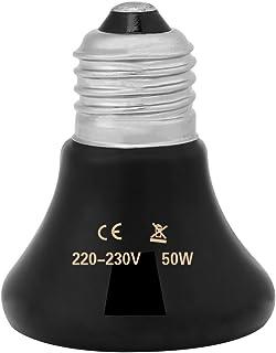Filfeel Lámparas de Calor, Bombilla de Calor del Reptil Bombilla de cerámica infrarroja del Calentador del Animal doméstico del emisor de Calor de Reptile(50W)