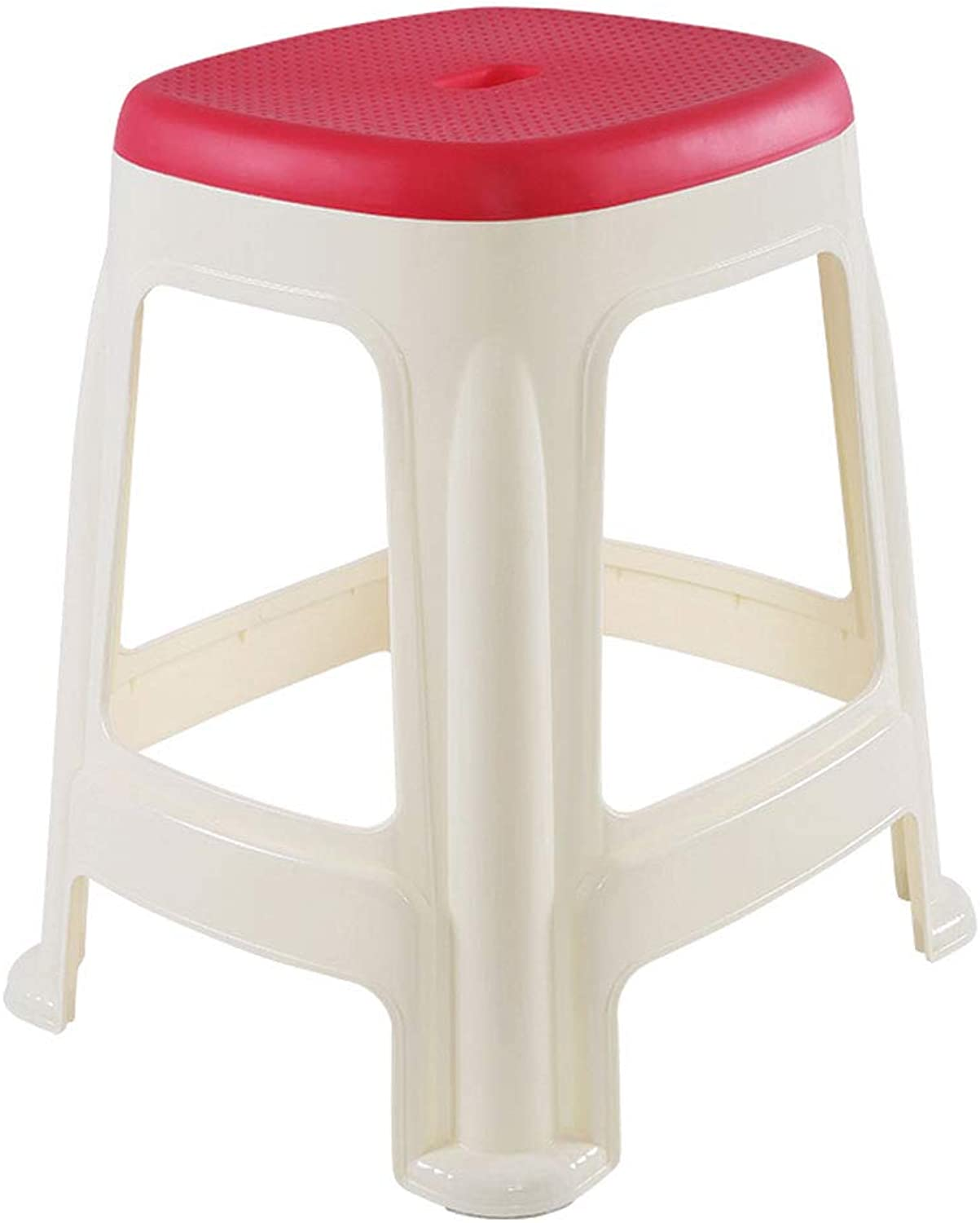 Adult Plastic Stool Smooth Texture Living Room Study Bathroom Chair Two Sizes with Non-Slip Mats (color   Red, Size   L)
