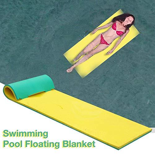 Junean Alfombrilla de agua flotante, colchoneta flotante de espuma XPE de 2-capas resistente al desgarro, isla flotante enrollable, manta flotante de piscina para piscina, lago, océano, barco