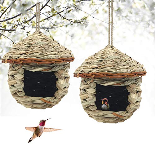 PIVBY Birdhouse for Outside Hanging Hummingbird House Natural Grass Hand Woven Bird Nest Hut for Finch /& Canary Pack of 2