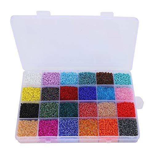 26400 piezas de cuentas de vidrio de 2 mm, 24 colores, kit de inicio de cuentas pequeñas, cuentas de pulsera, cuentas artesanales con caja de almacenamiento para hacer joyas