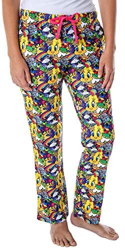 Looney Tunes Women's Tweety Bird Vivid Color Pattern Velvety Soft Sleep Lounge Pajama Pants (MD)
