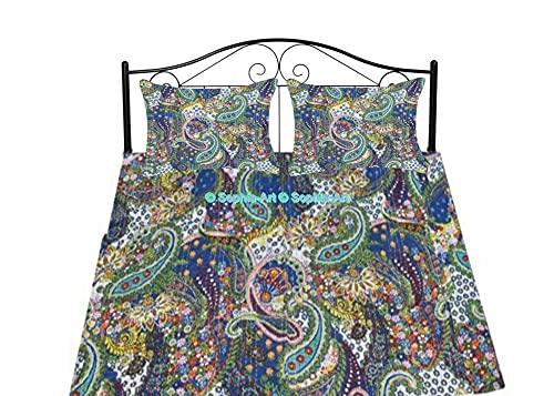 Sophia-Art Kantha - Manta de algodón, hecha a mano, diseño de cachemira, Kantha, funda de edredón Kantha, colcha bohemia (azul, doble de 152 cm con funda de funda)