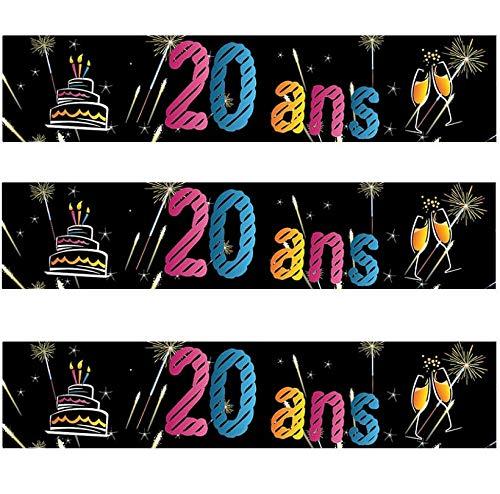 HOBI Décoration de Salle avec Bannière Anniversaire 20 Ans (x1) R/AA2008CH
