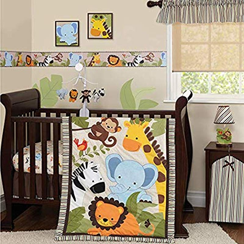 Bedtime Originals Jungle Buddies 3 Piece Crib Bedding Set Brown Yellow Deluxe Edition