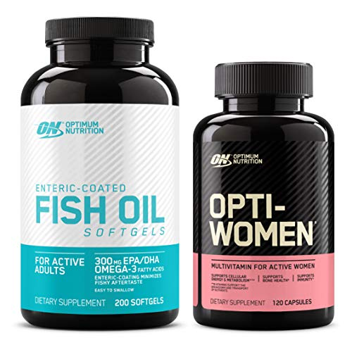 Optimum Nutrition Omega 3 Fish Oil, 300MG, Brain Support Supplement (200 softgels) with Opti-Women, Womens Daily Multivitamin Supplement (120 count) - Bundle Pack