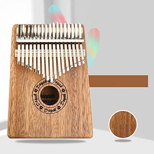 QINQIN Tragbare Kalimba Daumenklavier 17 Tasten mit Mahagoni-Holz mit Tasche, Hammer und Musikbuch, ideal für Musikliebhaber, Anfänger, Kinder,A