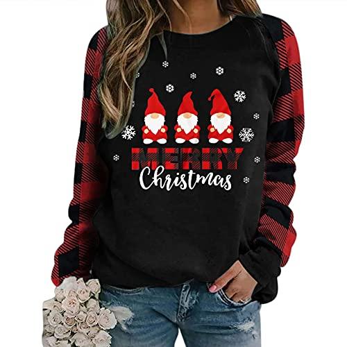 Boshivw Maglione natalizio da donna, divertente, con elfo, a maniche lunghe, motivo natalizio, Nero , XL