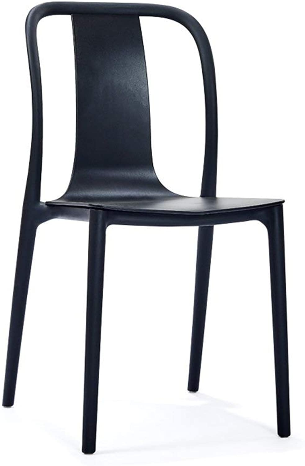 MMAXZ European Creative Dining Chair Home backrest Plastic Chair American Casual Dining Chair can be superimposed Extension Stool high Stool (color   Black)