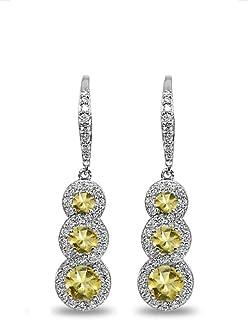 Gemstar Jewellery 18K White Gold Plating Heart Shape Yellow Citrine Screw Back Solitaire Stud Earrings