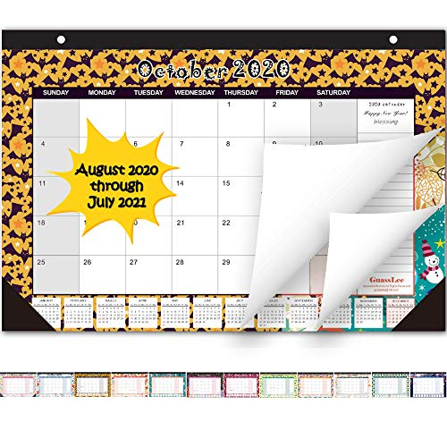Desk Calendar 2020-2021: Large Monthly Pages 21 x 14 Inches Runs from August 2020 Through July 2021-12 Monthly Desk/Wall Calendar Perfect for Daily Monthly Schedule Planner - Seasonal Designs