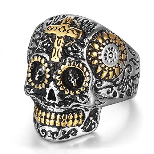 Anello Croce Acciaio Inossidabile Gothic Skull Ghost Head Biker Halloween punk rock Gold colore argento lucidatura Vintage Gioielli e Acciaio inossidabile, colore: gold 59 (18.8)