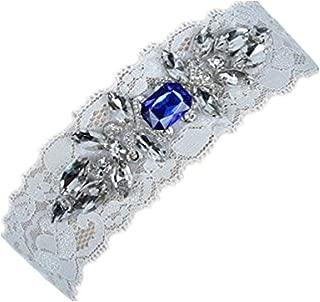 Women's Wedding Bridal Garter Set Belt Series Lace Crystal Rhinestone Blue Vintage Prom Gift