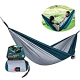 Meet World Doble Hamaca Camping - Ligero Hamaca Portátil, Mejor Paracaídas Hamaca Doble para Excursionismo, El Acampar, Viaje, Playa, Patio,Elegant Gray,Single