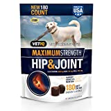 VetIQ Maximum Strength Hip And Joint Supplement For Dogs - Chicken Flavored Soft Chews, 22.2 Oz (180 count...