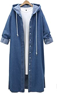 QZUnique Women's Long Denim Coat with Hood Long Sleeve Windbreaker Plus Size Jean Jacket Outwear