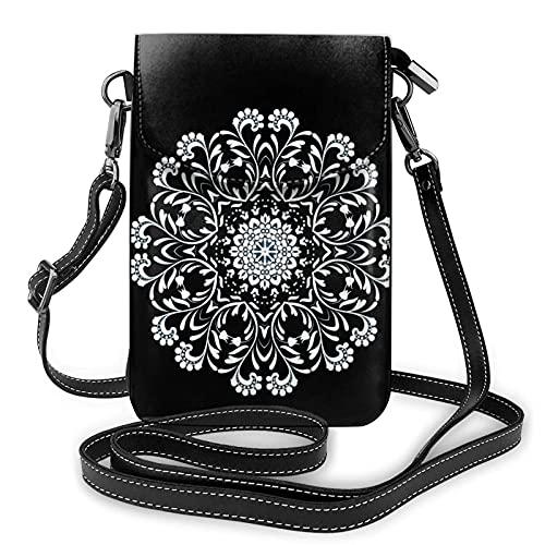 círculos ornamento floral en azul, bolsa impermeable del teléfono, monederos y bolsos ligeros con 2 correa de hombro para las mujeres