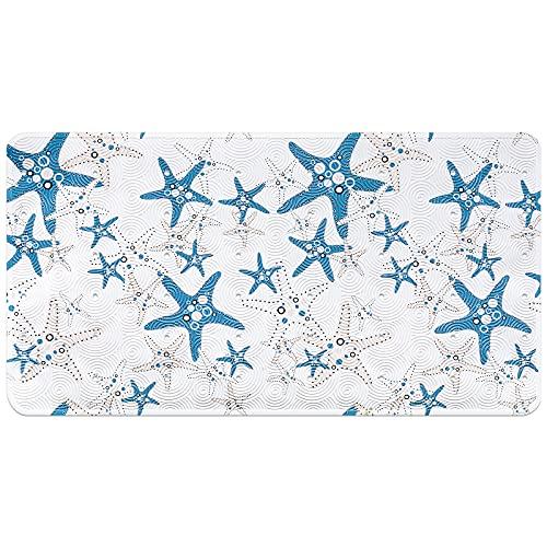Alfombrillas de baño antideslizantes para niños, Animal marino Estrella de mar Alfombrilla de bañera para niños lavable a máquina para accesorios de baño con ventosas 39X69CM (B-Azul estrella de mar)