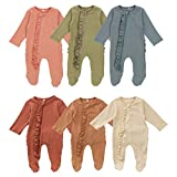 Lelloing Newborn Baby Boy Long Sleeve Romper Infant Girls Solid Color Footed Onesie Ribbed Jumpsuit Unisex Basic Pajamas (Pajama-Beige, 0-3M)