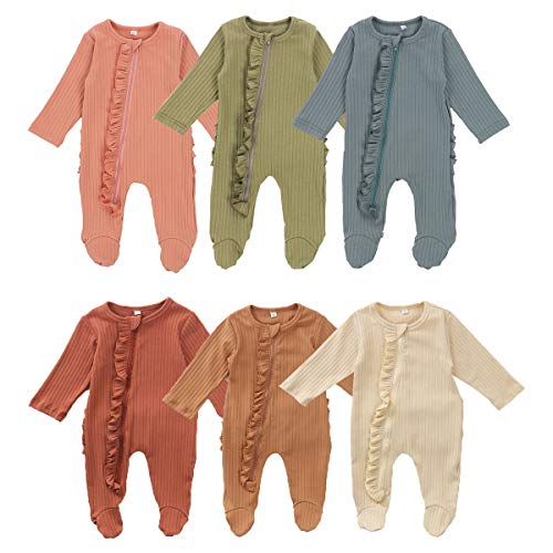 Lelloing Newborn Baby Boy Long Sleeve Romper Infant Girls Solid Color Footed Onesie Ribbed Jumpsuit Unisex Basic Pajamas (Pajama-Khaki, 3-6M)