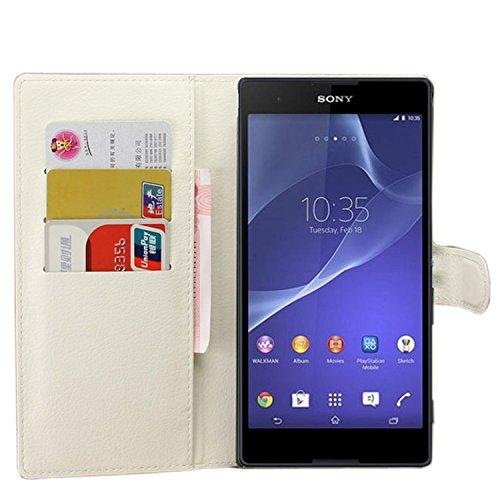 Ycloud Tasche für Sony Xperia T2 Ultra (6 Zoll) Hülle, PU Ledertasche Flip Cover Wallet Hülle Handyhülle mit Stand Function Credit Card Slots Bookstyle Purse Design weiß