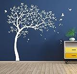 MAKSASH White Tree Wall Sticker - Personalized DIY Home Decor for Nursery, Bedroom, Kids Room, Playroom, Classroom, Closet Door - Large Wallpaper Art Kit- Removable Vinyl Mural Decal, Tree Wall Decor,174x212cm