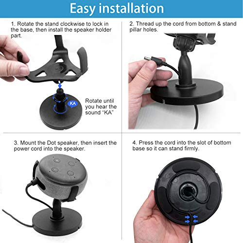 oGoDeal Desk Stand Table Holder for Echo Dot 3rd Generation Desktop Holder Dot Accessories Mount, 360° Rotation Adjustable,Improves Sound Visibility and Appearance(Black)