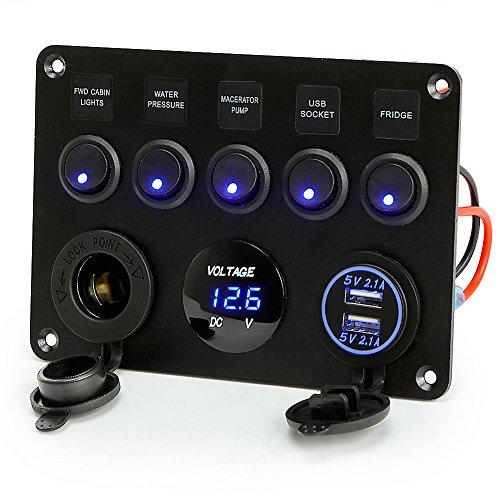 Voltímetro Rupse (12V) con 5 tomas de corriente, panel conmutador y cargador USB doble. Para barcos, autocaravanas, caravanas, camiones y otros vehículos